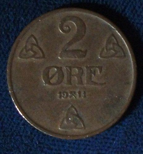 1911 Norway 2 Ore VF