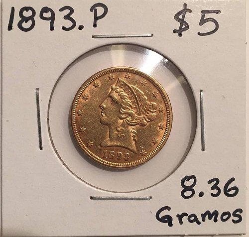 1893 P Coronet Head Gold $ 5 Half Eagle