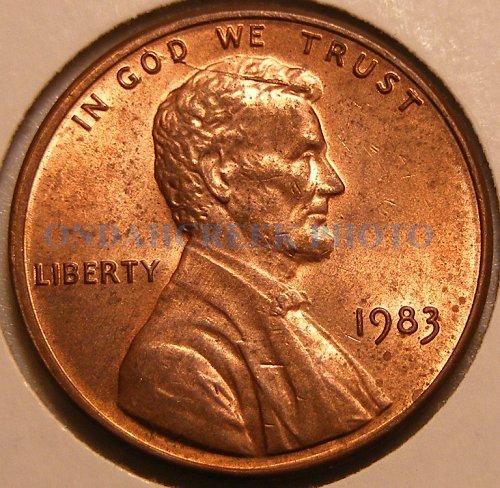 1983 Lincoln Cent Cracked Skull Spiked Head Die Breaks Mint Error