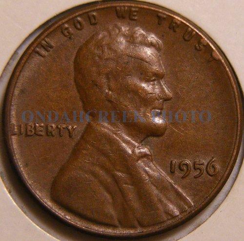 1956 Lincoln Cent BIE Die Chip Error Cohen B55 w Cracked Skull