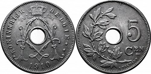 Belgium 1910 5 Centimes  dot over ij   0109