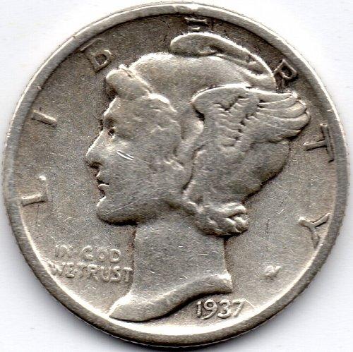 1937 P (Philadelphia) 90% Silver Mercury Dime Bullion Winged Liberty Head