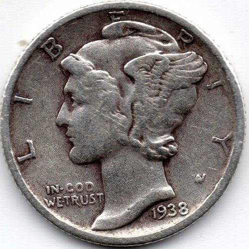 1938 S (San Francisco) 90% Silver Mercury Dime Bullion Winged Liberty Head