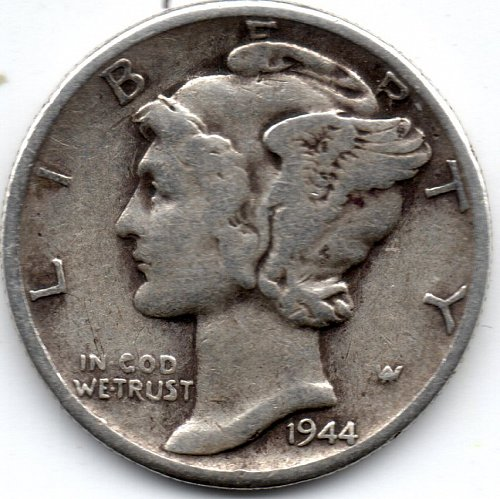 1944 P (Philadelphia) 90% Silver Mercury Dime Bullion Winged Liberty Head