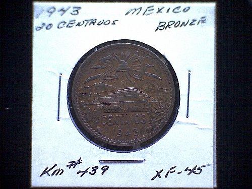 "1943 MEXICO TWENTY CENTAVOS  ""WORLD WAR 11"""