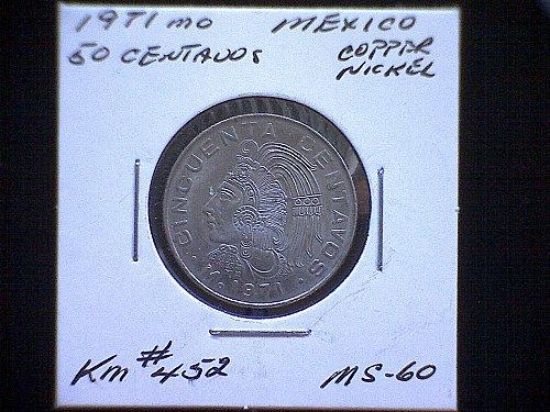 1971 MEXICO FIFTY CENTAVOS