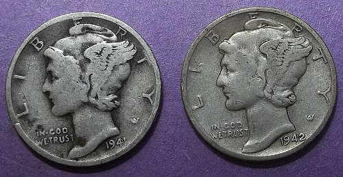 2 Mercury Dimes Lot McDBda