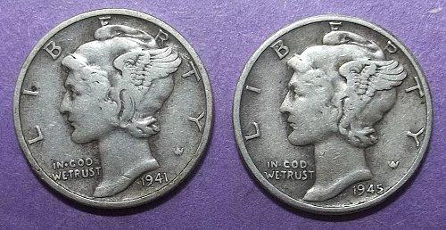 2 Mercury Dimes Lot McD4B