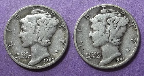 2 Mercury Dimes Lot McDbzx