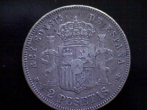 "1882 A  (82) MS-M  SPAIN TWO PESETAS  ""SILVER"""