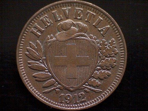 1912 B SWITZERLAND TWO RAPPEN