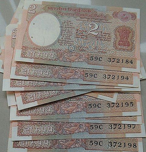india UNC..AU..15 ..2 rupee notes..