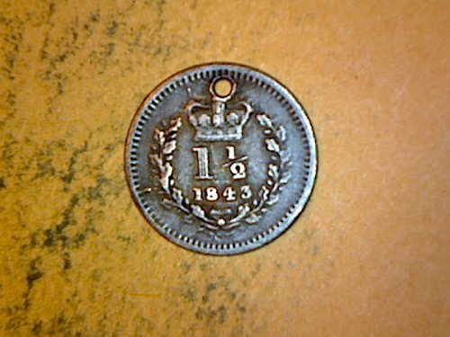 Great Britain 1843 1 and 1/2 Pence Silver