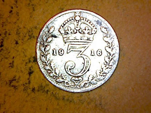 Great Britain 1916 3 Pence Silver