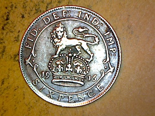 Great Britain 1916 6 Pence Silver