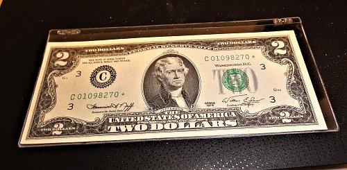 1976 $2 Bicentennial Star Note Crisp Uncirculated Philadelphia Dist.