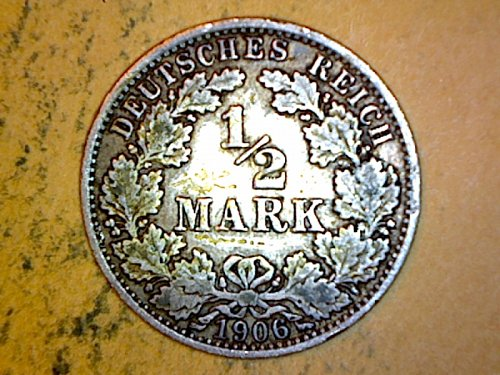 Germany 1906 A 1/2 Mark Silver