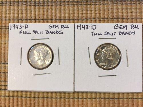 LOT OF 1943D & 1944D SPLIT BAND MERCURY DIMES