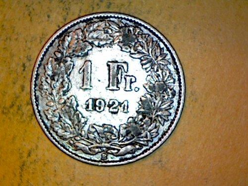 Switzeland 1921 1 Franc Silver