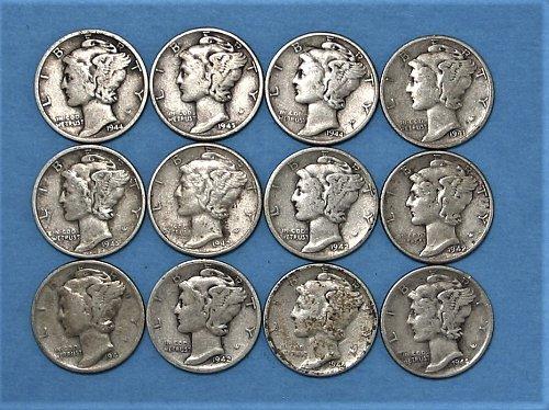 12 Mercury Silver Dimes