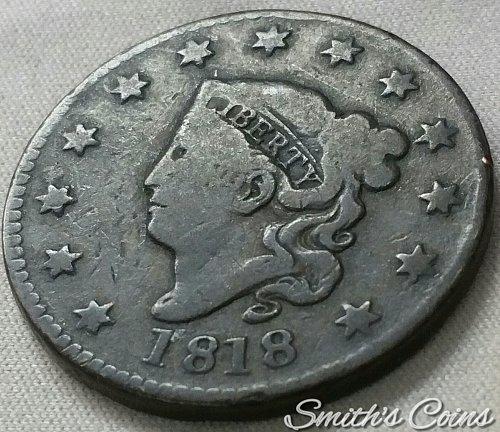 1818 Coronet Liberty Head Large Cent ~ 18-2, R-3+ ~ G 6