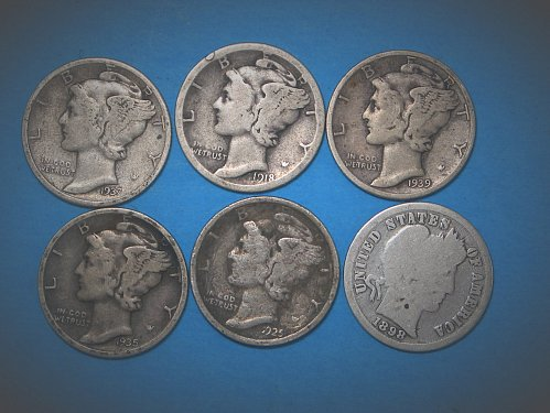 6 Mixed Silver Dimes 1898 to 1939