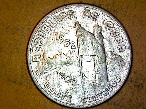 Cuba 1952 20 Centovas Silver