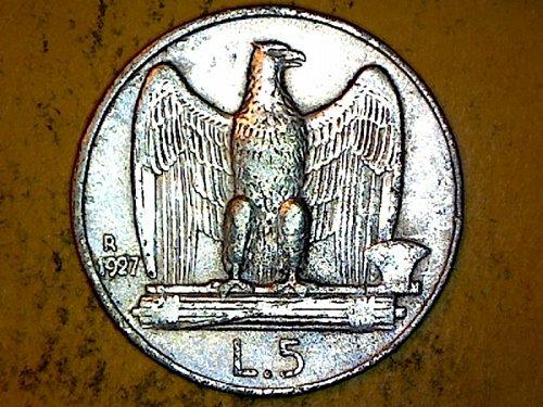 Italy 1927 5 Lire Silver