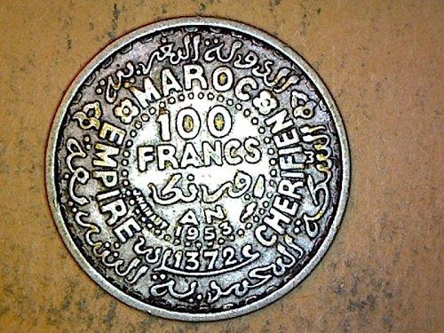 Morocco y 53 AH 1372 1953 100 Francs Silver