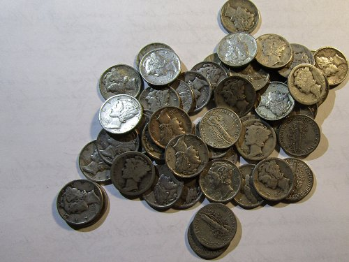50 Silver Mercury Dimes mix dates temporary CHECKS or USPS MO 6 day sale/////