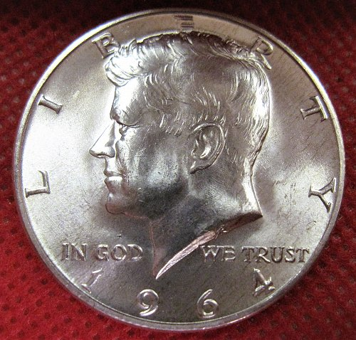 1964-D Kennedy Silver Half Dollar BU With Lite Golden Streaks/Specks