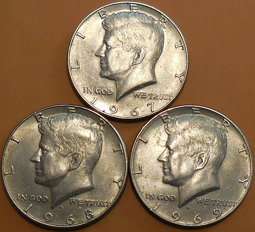 Lot of 3 Kennedy Half Dollars 1967-P 1968-D 1969-D