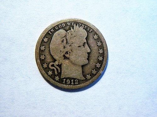 1912-S Silver Barber Quarter