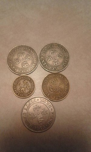 Hong Kong 1951,1961,1973 50 cents 1950 10 cents and 1949 5 cents