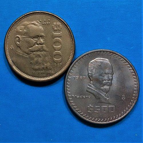 Mexico 1987 = 500 and 100 Pesos