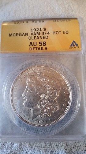 1921 P (Philadelphia) ANACS Graded VAM 3F4 Hot 50 90% Silver Morgan Dollar Bulli