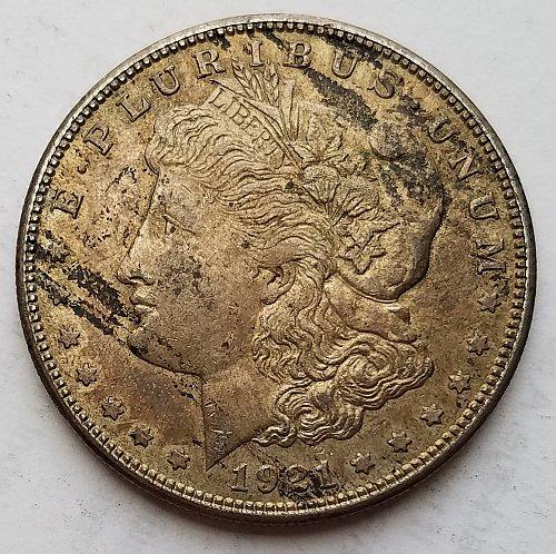 1921-S Morgan Silver Dollar 17md358