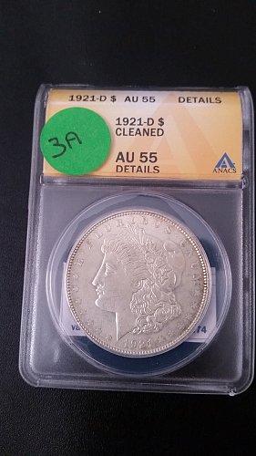 1921 D (Denver) ANACS Graded VAM 3A 90% Silver Morgan Dollar