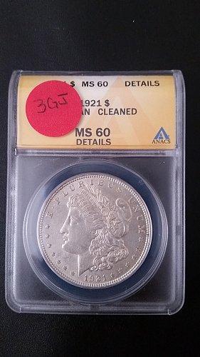 1921 P (Philadelphia) ANACS Graded VAM 3GJ 90% Silver Morgan Dollar