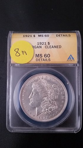 1921 P (Philadelphia) ANACS Graded VAM 8A 90% Silver Morgan Dollar