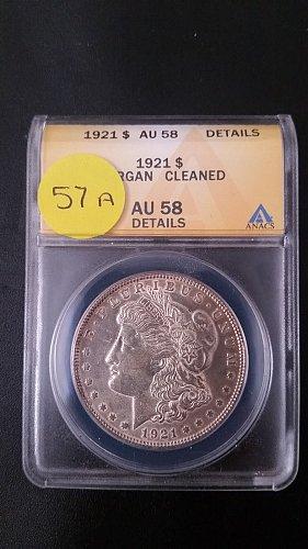 1921 P (Philadelphia) ANACS Graded VAM 57A 90% Silver Morgan Dollar