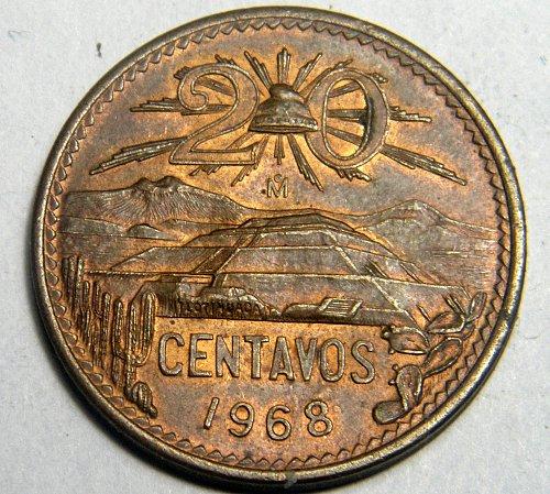 1968 20 centavos Mexico