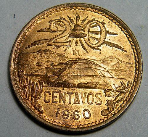 1960 20 centavos Mexico
