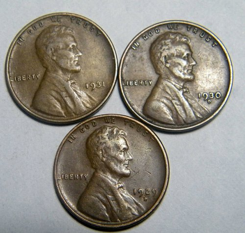Wheat cent coin LOT 1929 D 1930 D 1931 ADDITIONAL COINS SHIP FREE