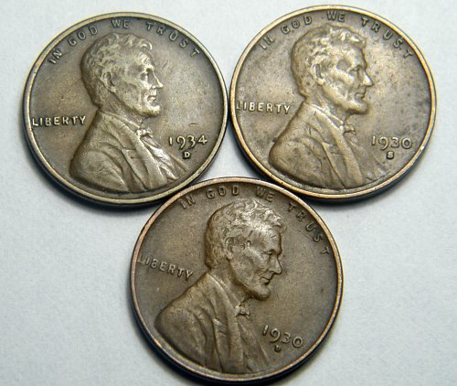 Wheat cent coin LOT 1930 D 1934 D 1930 S ADDITIONAL COINS SHIP FREE
