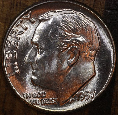 1957 P Choice BU Roosevelt Dime from OBW Roll, Blazing White Luster!!