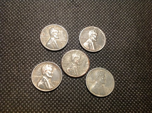 1943 Steel Wheat Cent. (5) coin set. (2) p. (3) s.