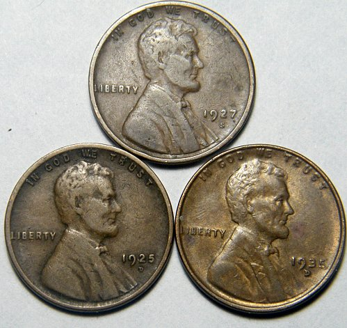 Wheat cent coin LOT 1925 D 1927 S 1935 D ADDITIONAL COINS SHIP FREE