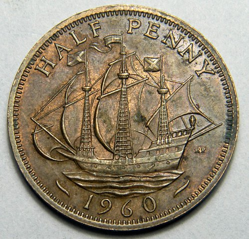 1960 half penny Great Britain