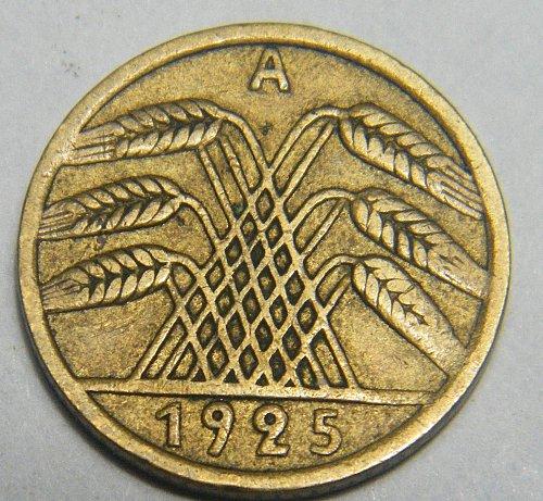 Germany 1925A  five Reichsfinning